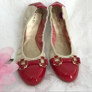 Ballet Twinkle Toes Red Ivory Gloria Flats